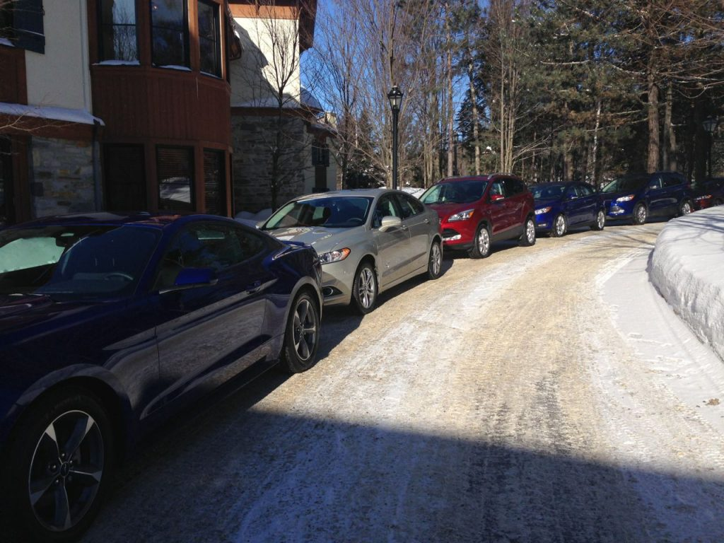 Time is a luxury, 2015 Ford cars lined up, Mont Tremblant, Hotel Quintessence