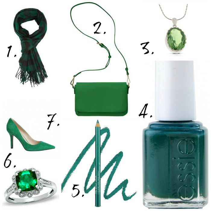 How to wear green on St. Patrick's Day, green accessories, scarves, purse, Essie,