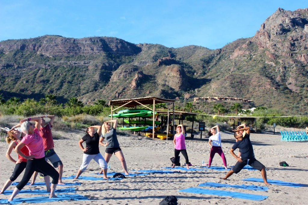 Villa Del Palmar, yoga on the beach