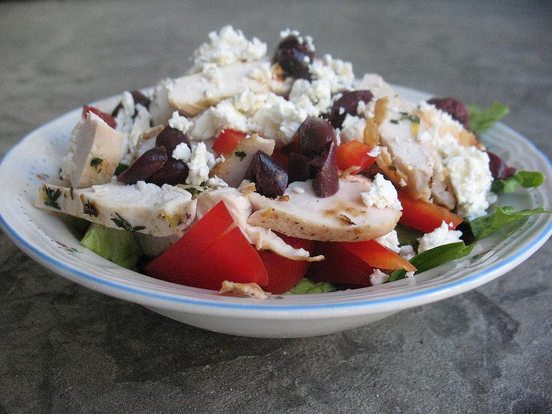 Greek Chicken Salad, salad in a bowl