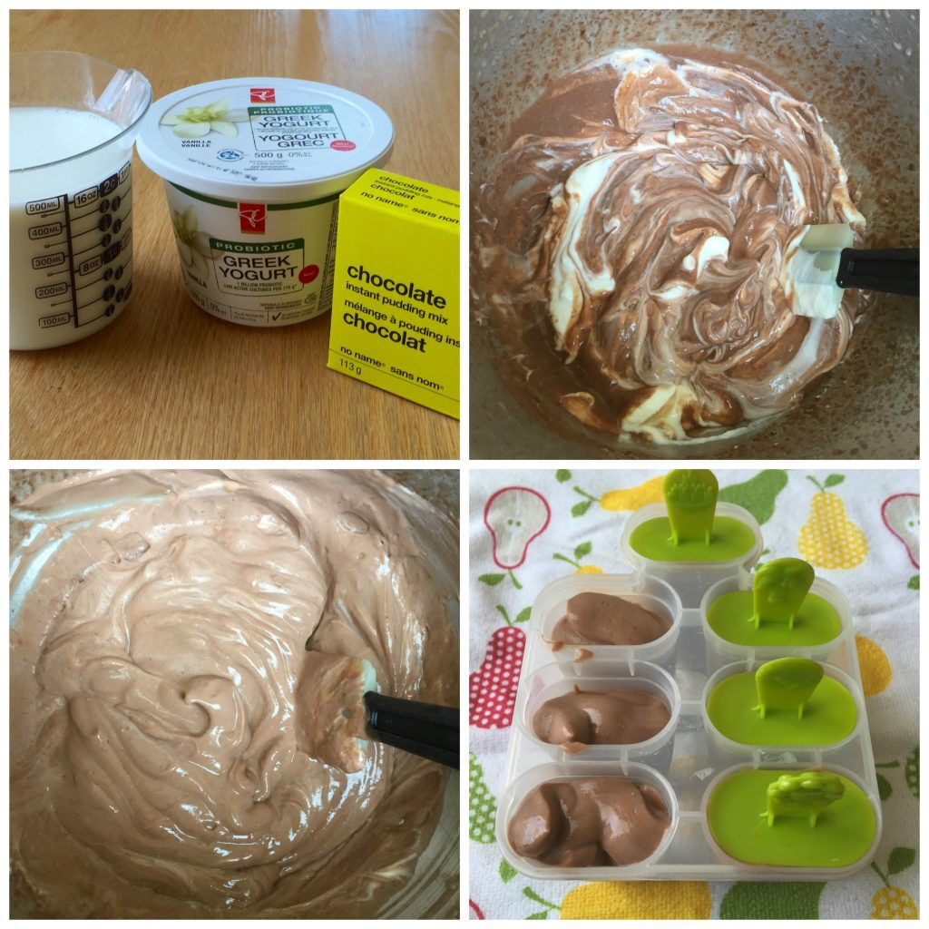 Chocolate pudding pop collage