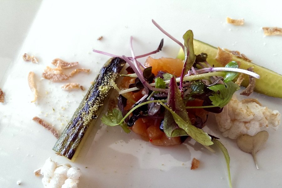 Citrus Cured Canadian Salmon with Pine-Salt Pickles