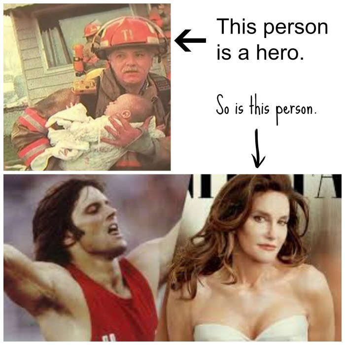 Firefighter with a baby and Bruce Jenner and Caitlyn Jenner