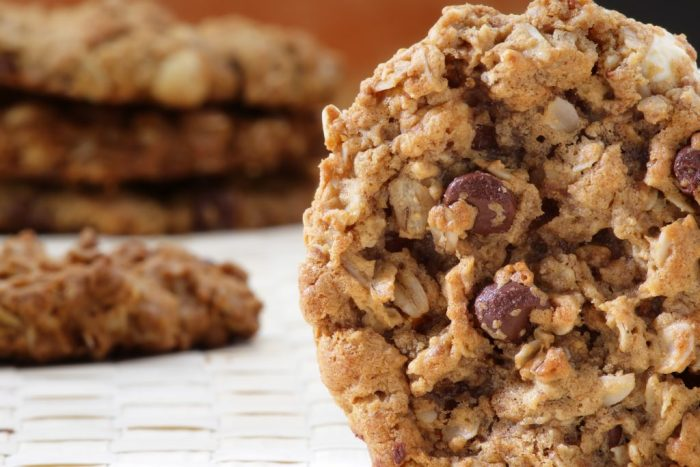 Fresh baked chocolate chip oatmeal cookie.