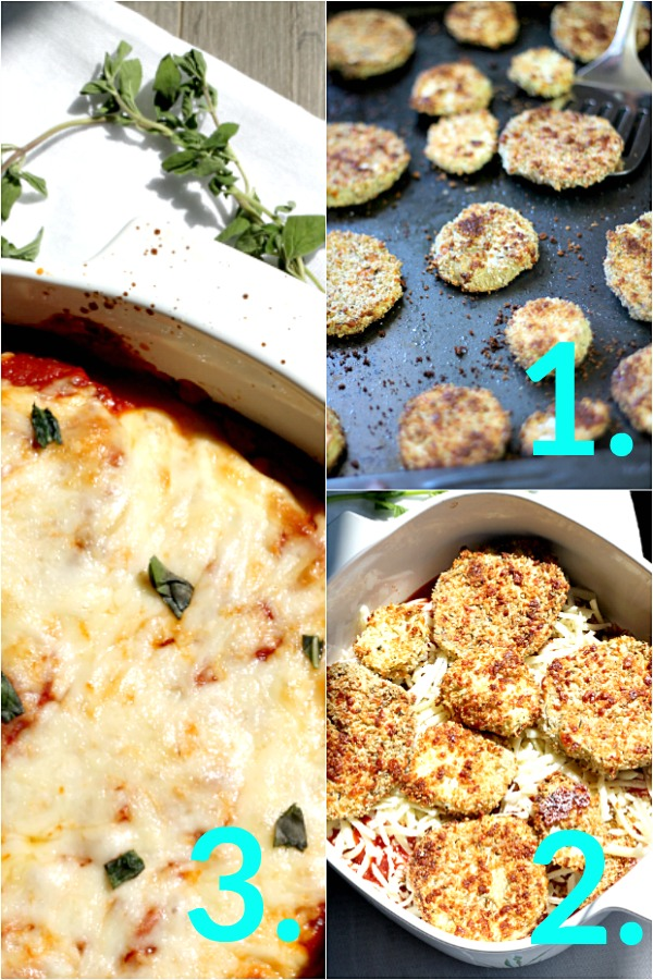 Easy Baked Eggplant Parmesan, baking eggplant in the oven