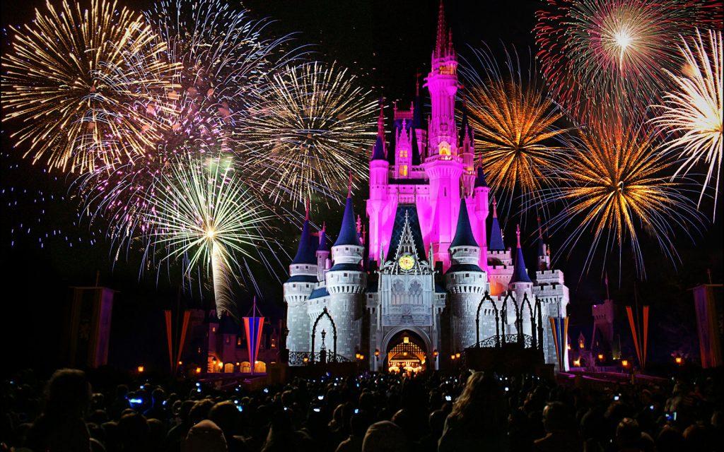 Magic Kingdom castle with fireworks