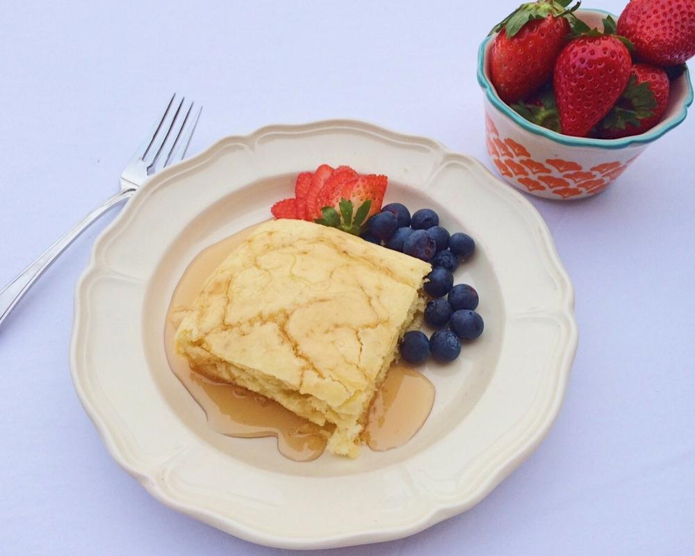 Baked Pancakes, fresh fruit, maple syrup