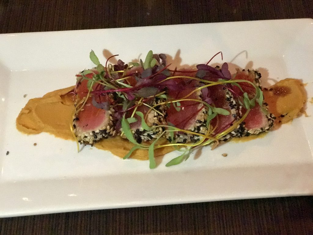 dining in Tremblant, tuna tatake, fresh seafood, spicy shrimp