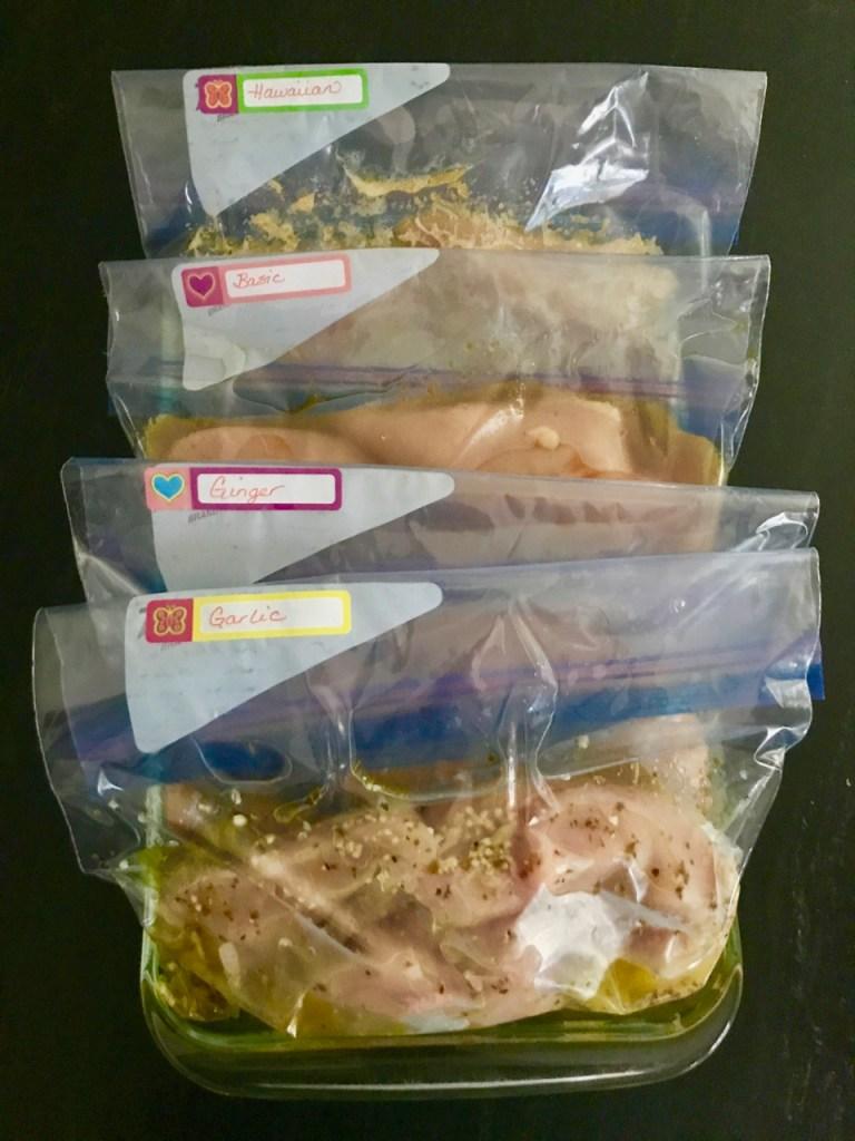 Freezer friendly chicken marinades