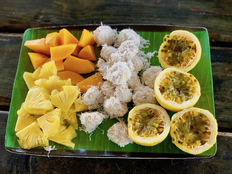 Tahiti Good for families, fresh fruit, passion fruit, banana rolled in coconut