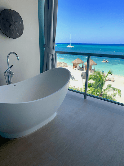Sandals Montego Bay, Tub on balcony, romance, couples resort