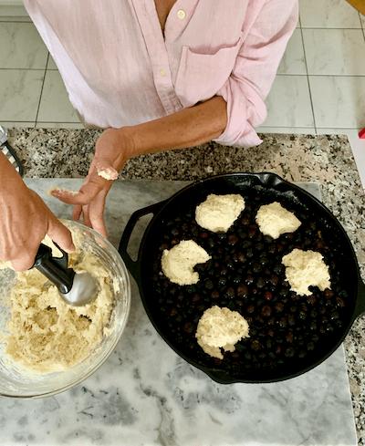 blueberry grunt, assembling, preparing for oven