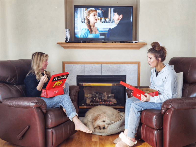ordering takeout and bingeing tv