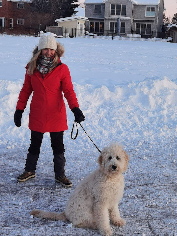 walking the dog in winter