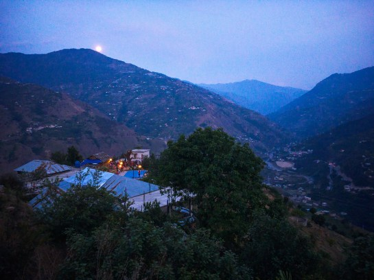 Moon rising above Saari village near Thali village of Jubbal