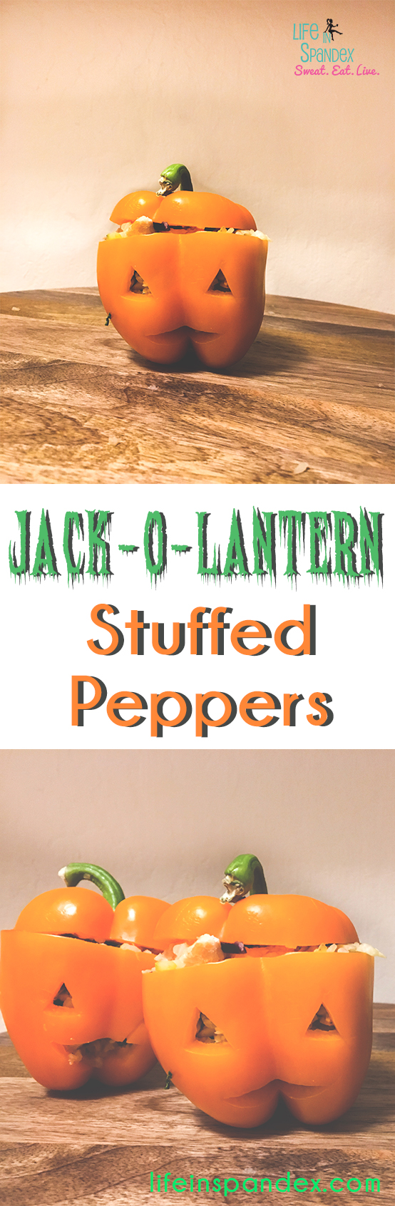 Jack-o-Lantern Stuffed Peppers