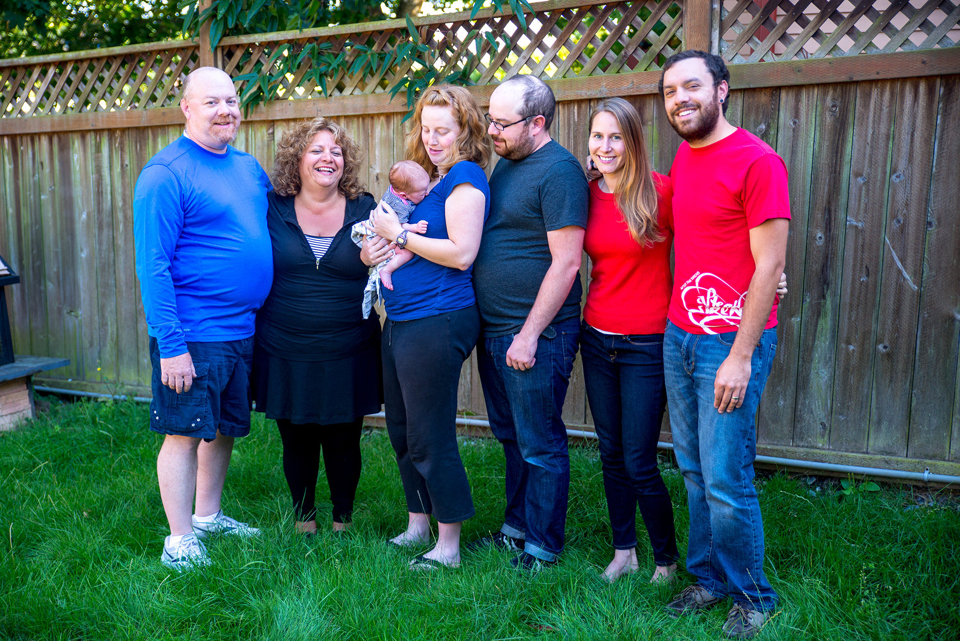 Newborn Audrey refuses to cooperate with our family portrait session