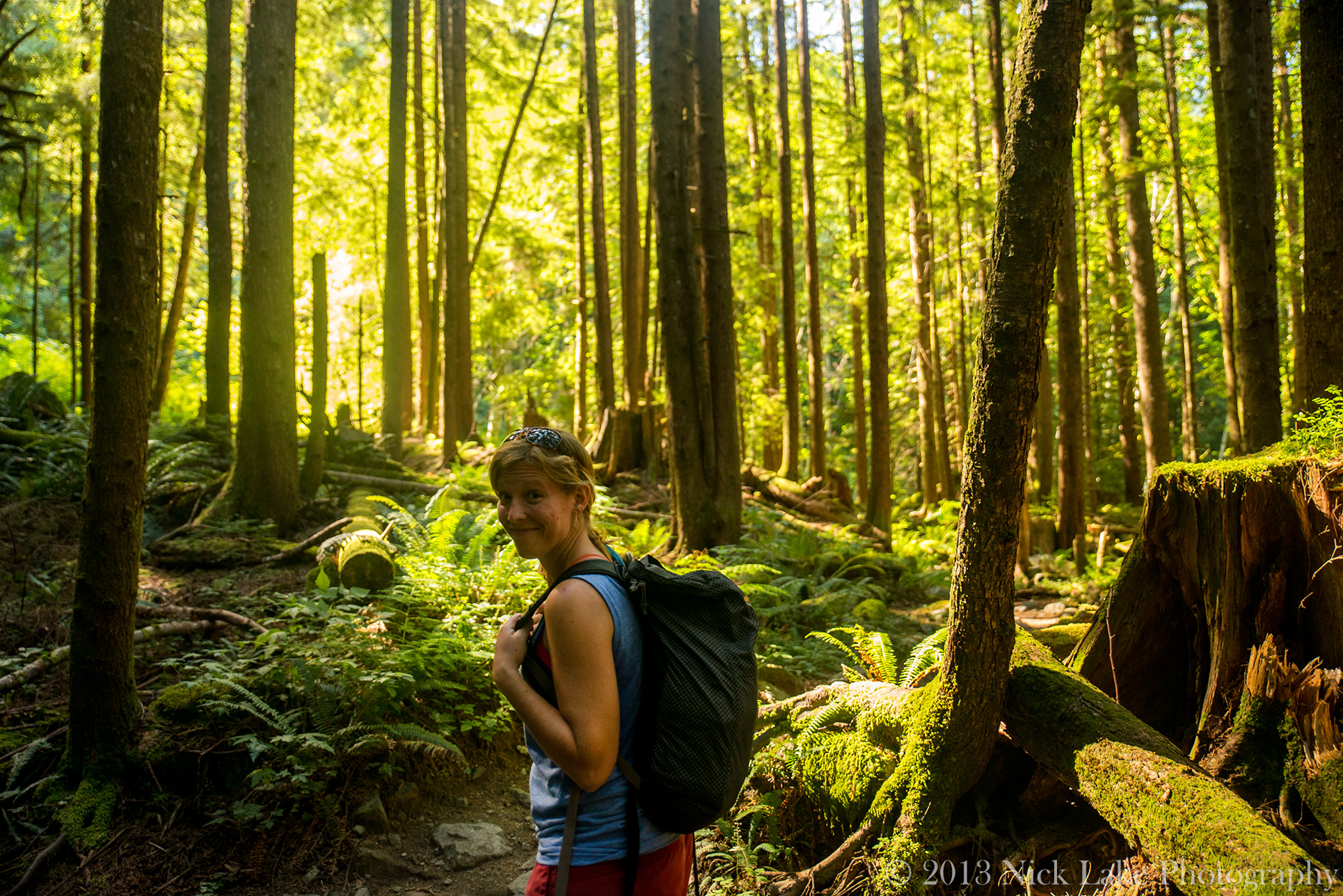Our sister-in-law's sister, Ali, enjoys the lush Western Washington forest near Serene Lake