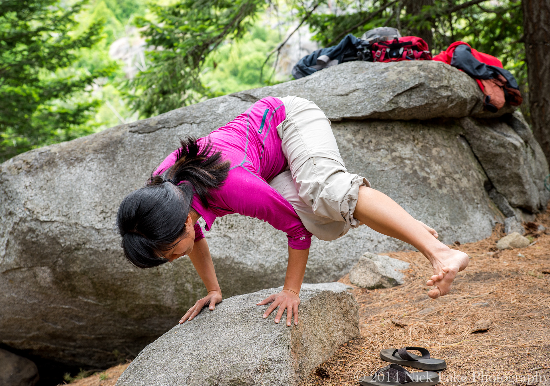 Woman Yoga Woods Balancing on Rock