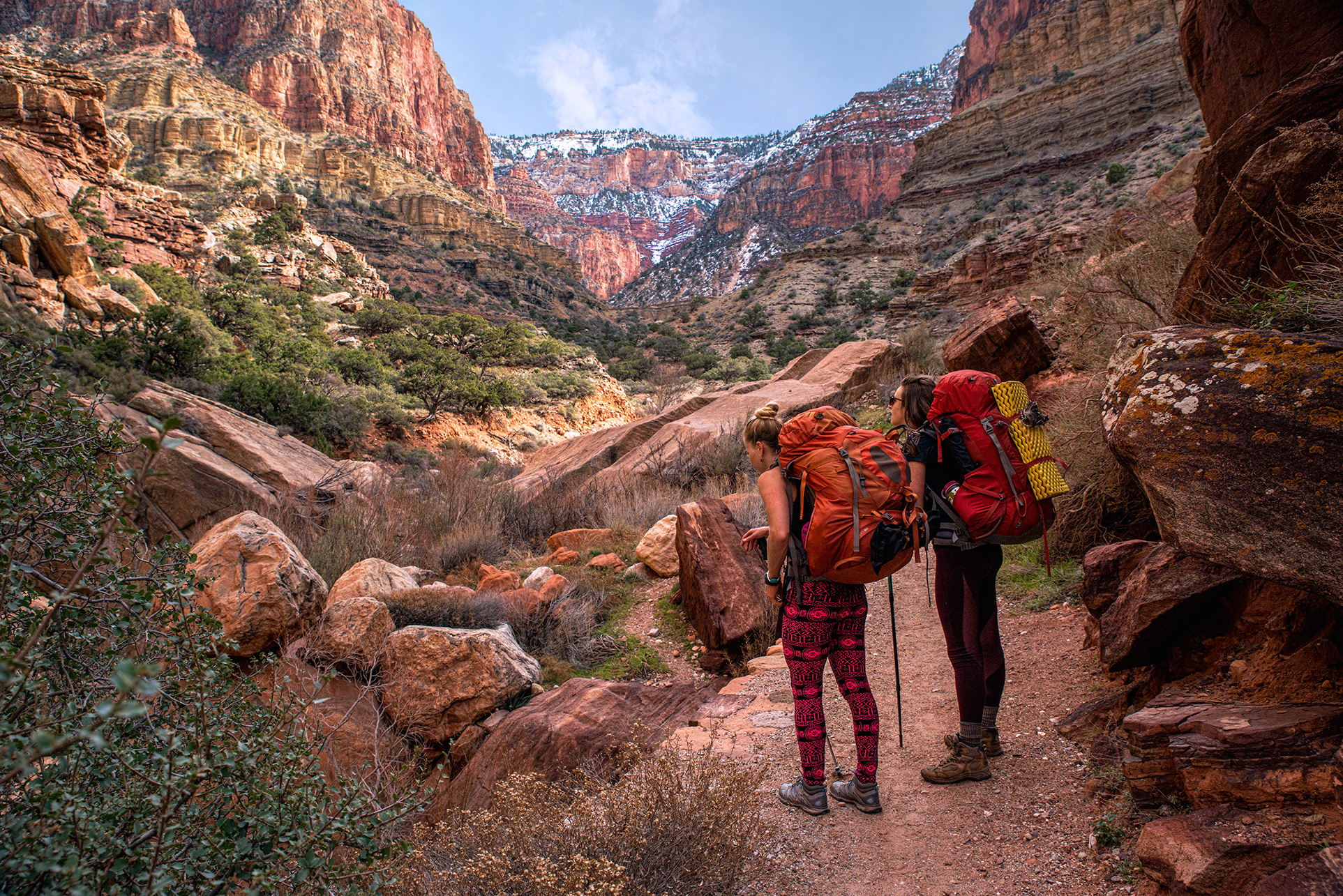 Grand Canyon National Park Women Backpacking Hiking Grand Canyon National Park Arizona USA