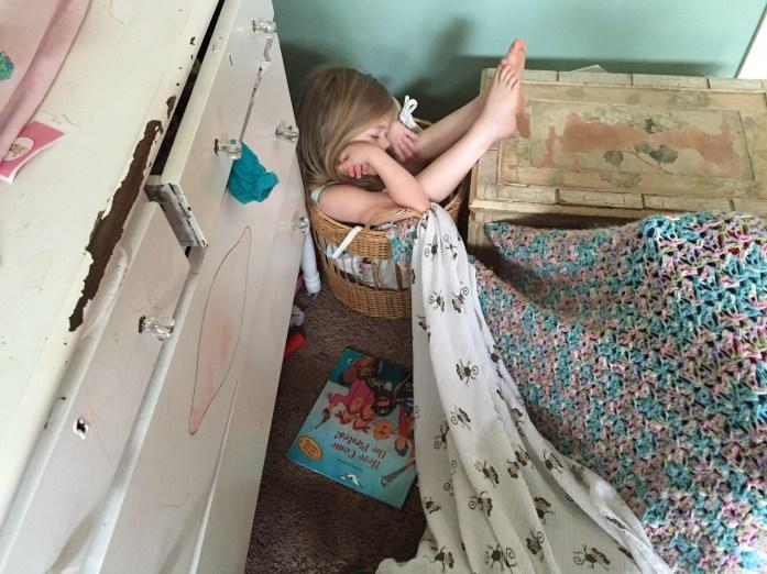 Juliette in laundry hamper