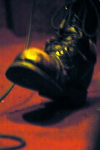 My boots keeping time long, long ago.