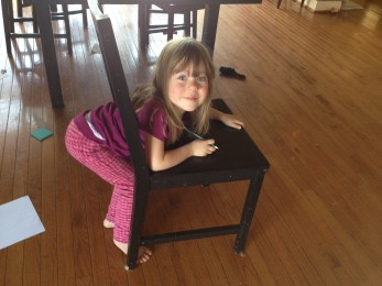 Celia stuck in chair
