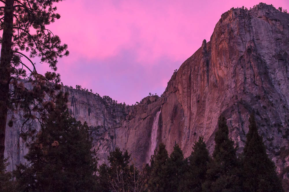Upper Yosemite Fall during sunset.