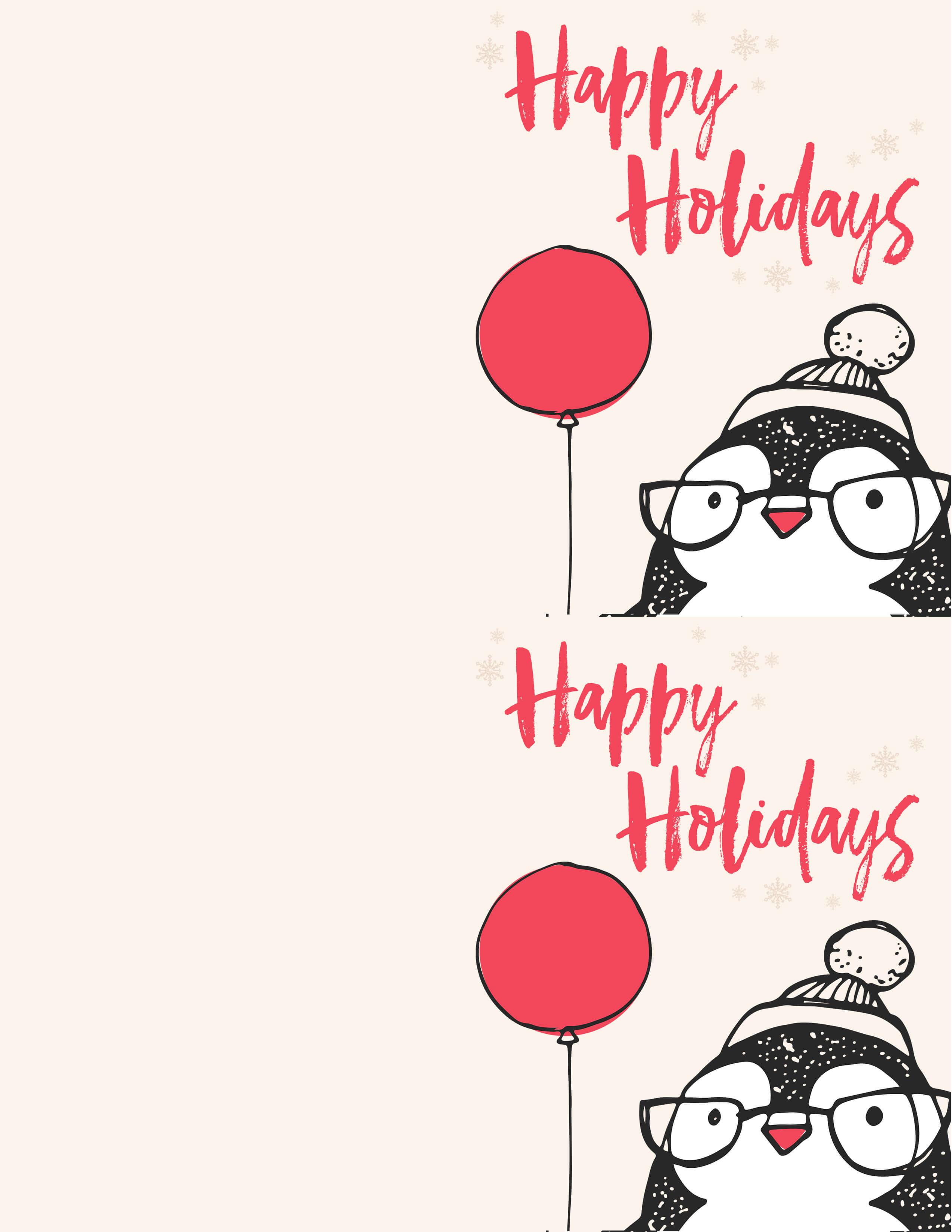 Free Penguin Christmas Card Printables