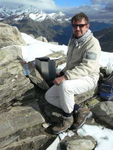 Cooking breakfast at the top of Monte Rose