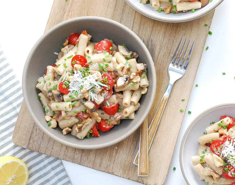One-Pot Brown Rice Penne with Mushrooms, Tomatoes, Walnuts, and Lemon