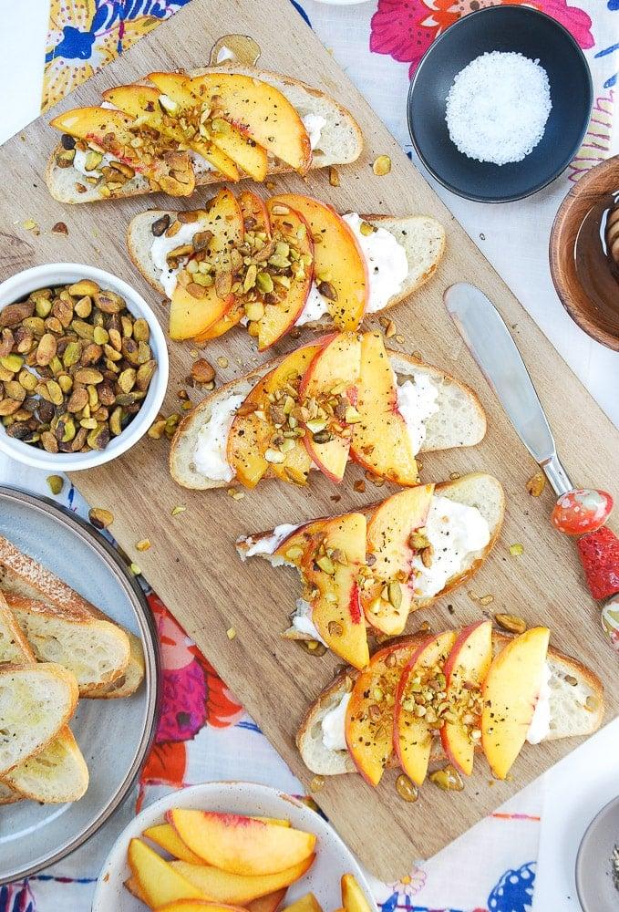 Peach Burrata Crostini-5
