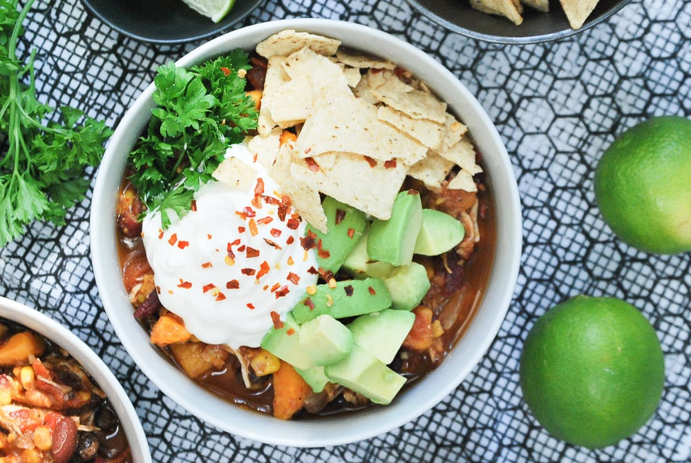 Slow Cooker Sweet Potato and Chicken Chili-5