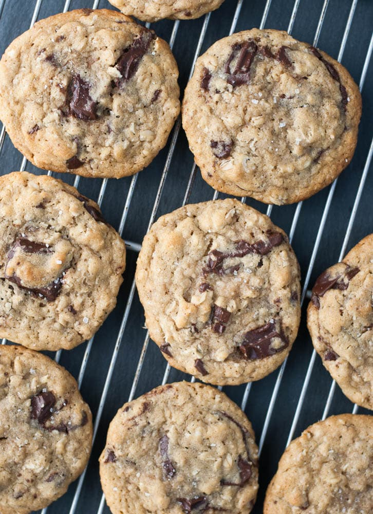 Dark Chocolate Chunk Oatmeal Peanut Butter Cookies-4