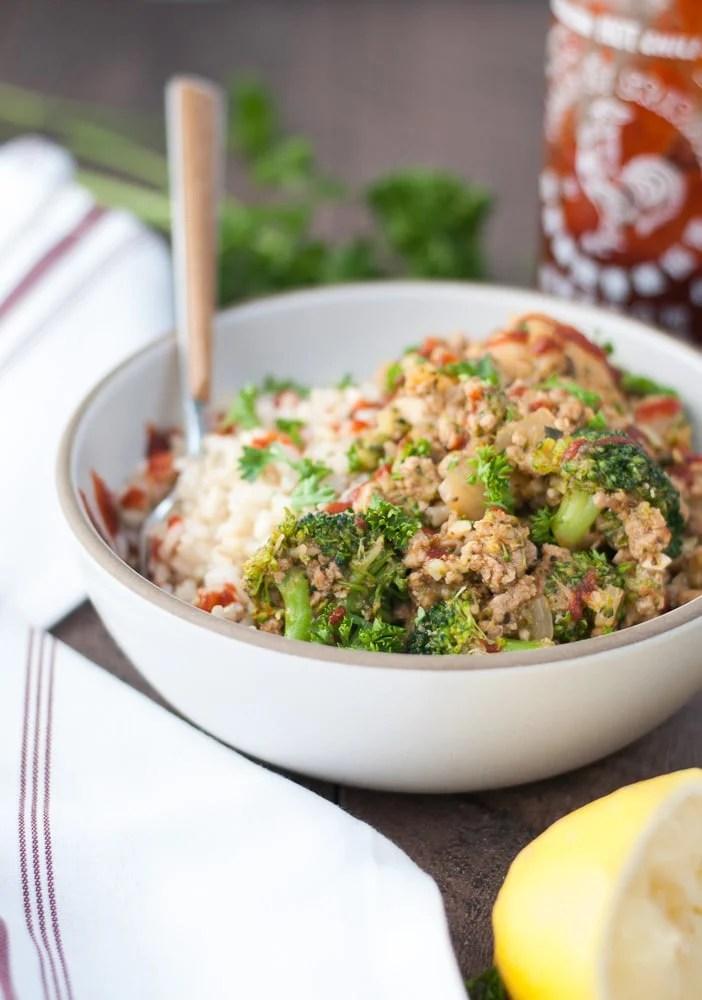 Ground Turkey & Veggie Brown Rice Bowls-7