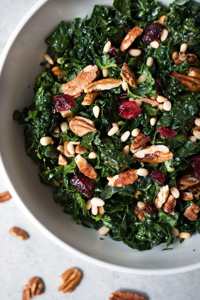 Chopped Kale Salad w/ Pecans, Cranberries, & Herb Dressing