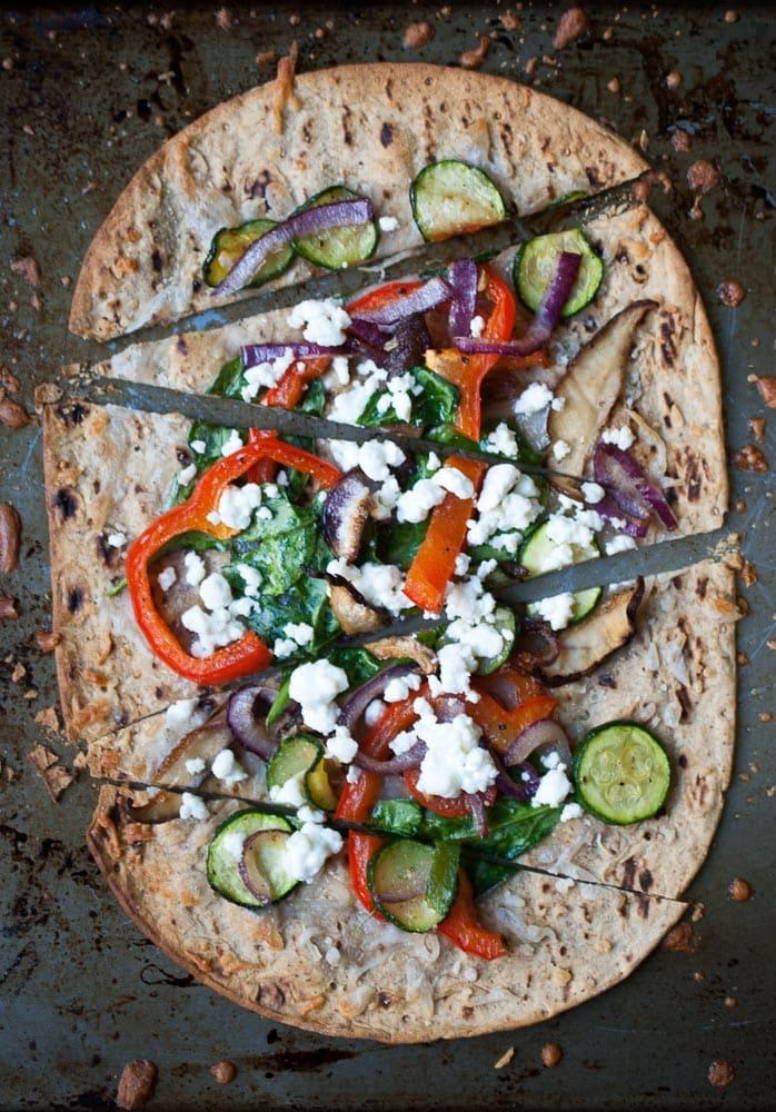 Crispy Roasted Veggie Flatbread Pizza