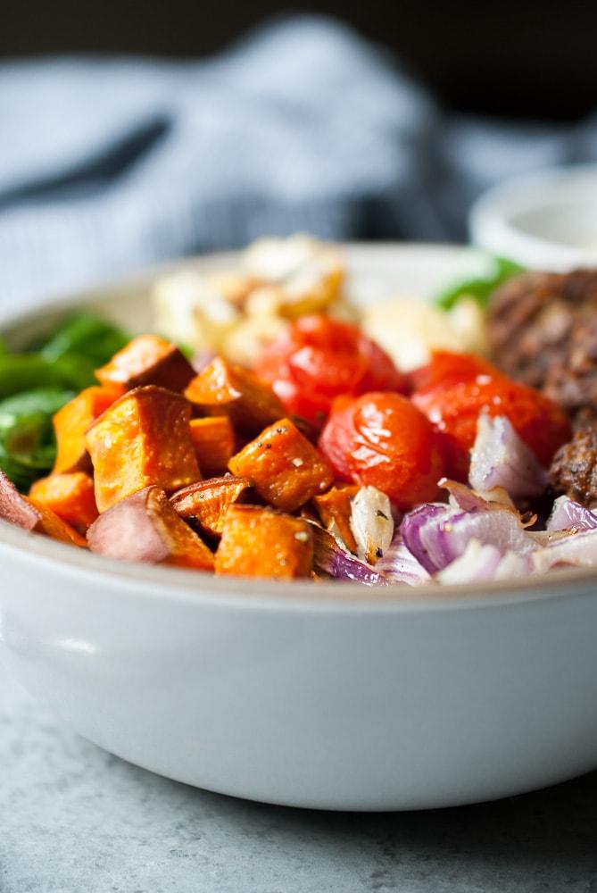 Roasted Vegetable Falafel Bowls