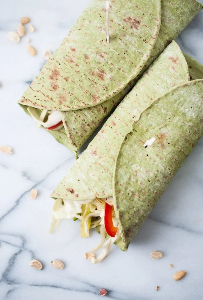Soy Ginger Peanut Chicken Wraps