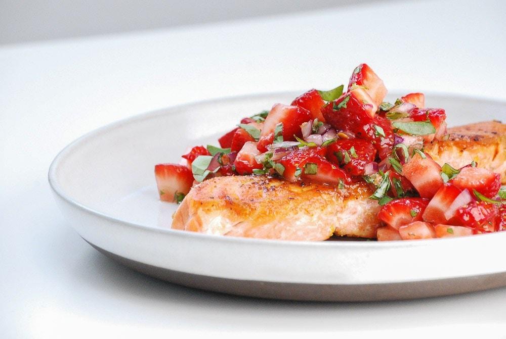 Seared Salmon w/ Strawberry Salsa