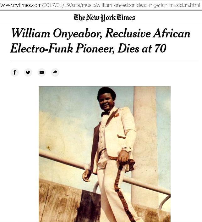 "Charles Onyeabor, anche intervistato dal New York Times, in radio dall'8 gennaio con il singolo ""They can't pull us down"" feat Miriam Taylor. Già disponibile in tutti i digital store"