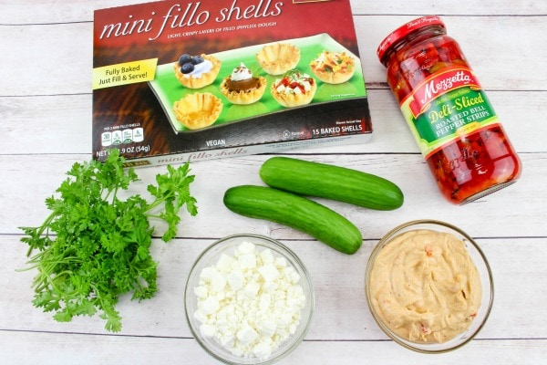 ingredients needed for roasted red pepper hummus bites