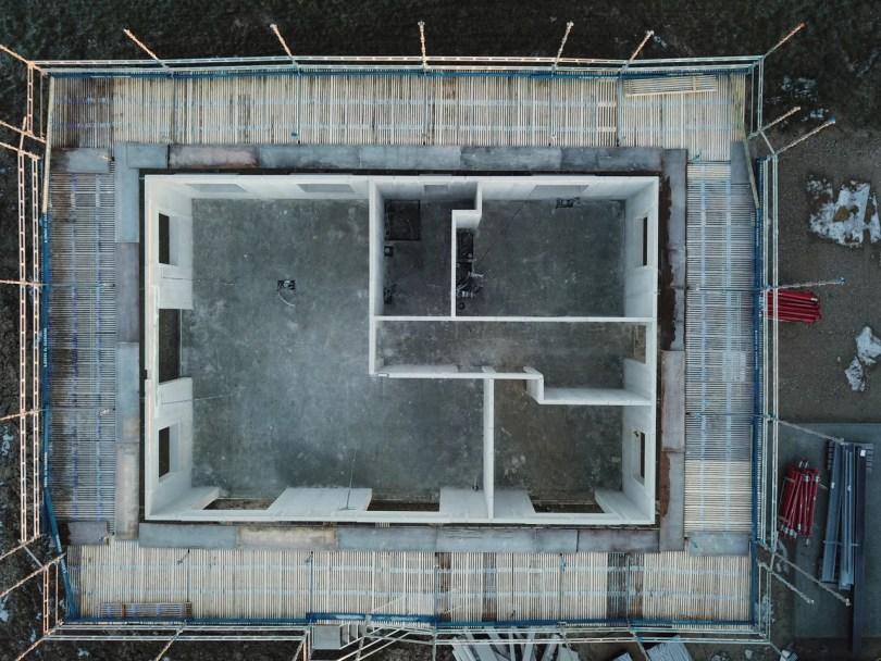 Luftfoto med drone af nybyg