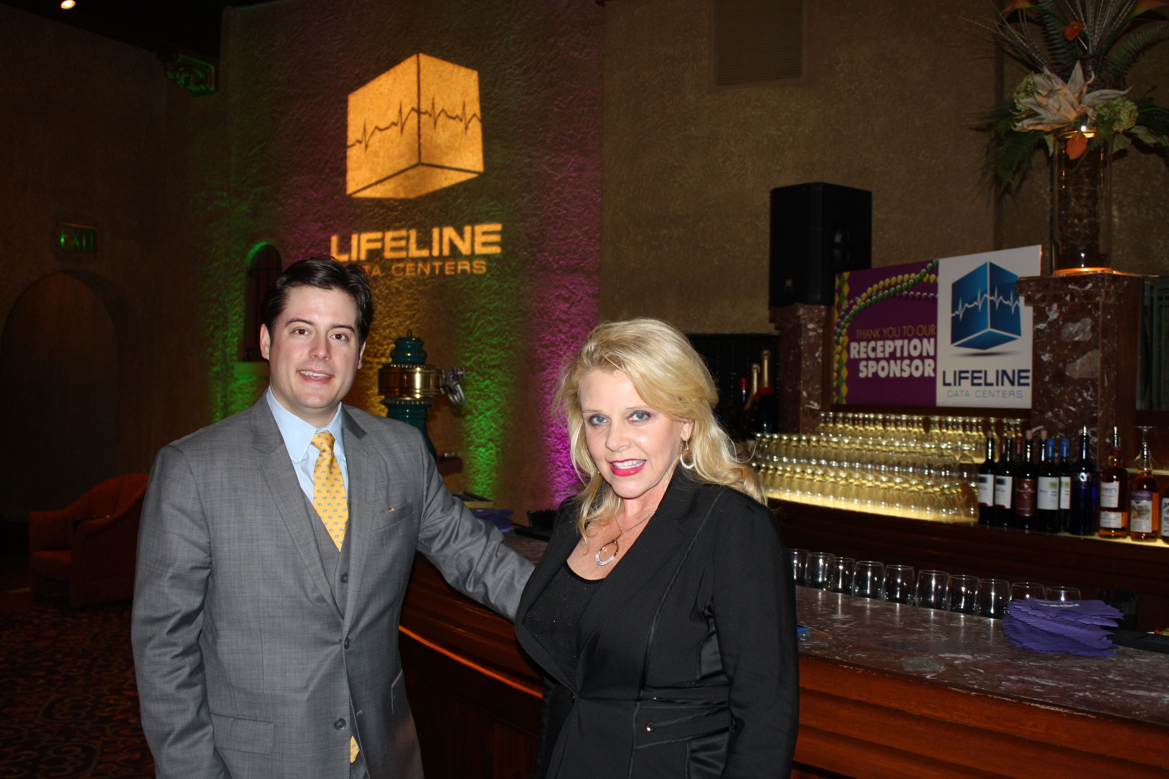 Nick and Dana in front of the Lifeline sponsored reception