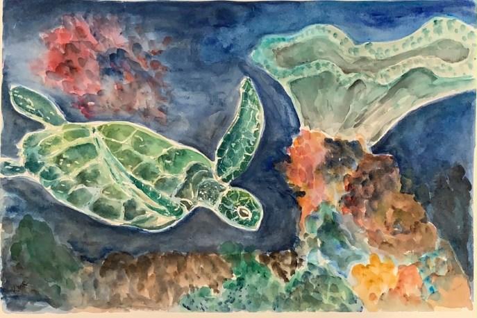 Coral Sea (watercolor, 15x22) - NFS