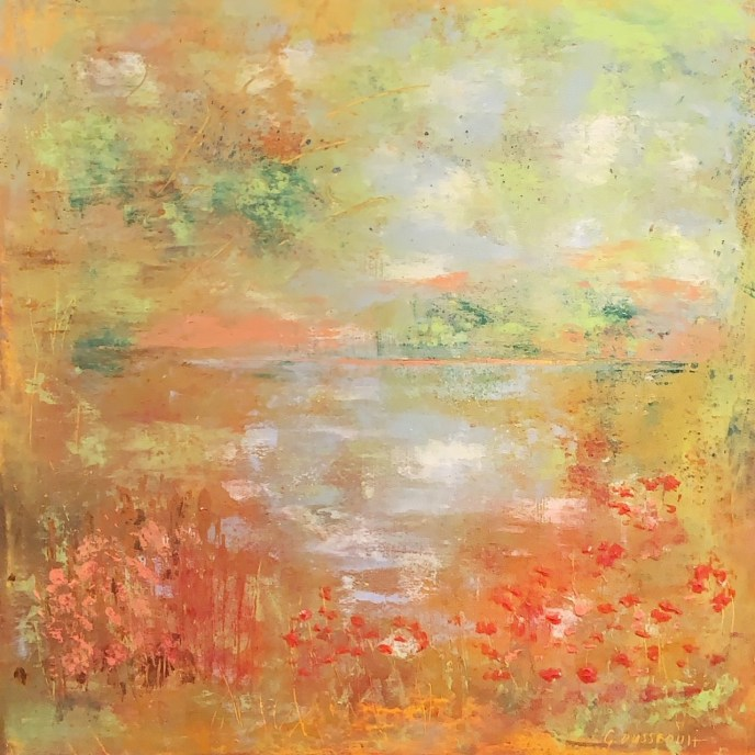 Vue sur le Lac (Lakeside View) (oil and cold wax on cradled panel, 12x12) - $350