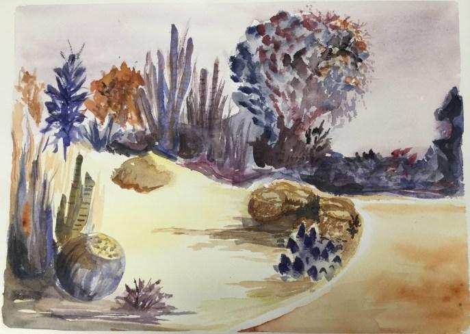 """""""Desert Garden"""" (watercolor), NFS"""