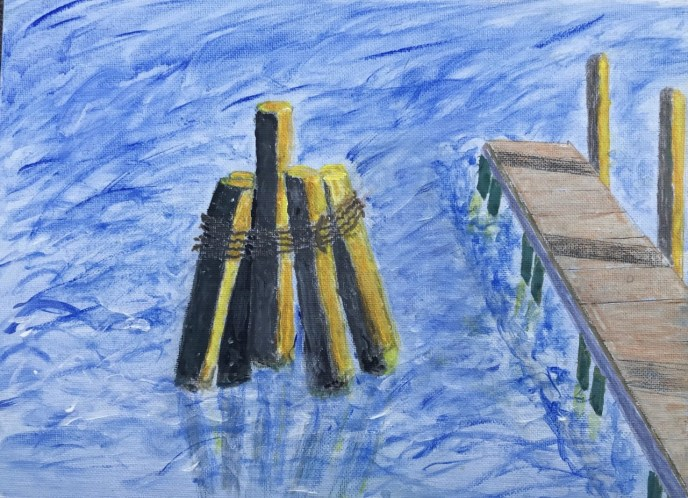 Piling and Pier (acrylic on canvas, 9x12) - Price Negotiable