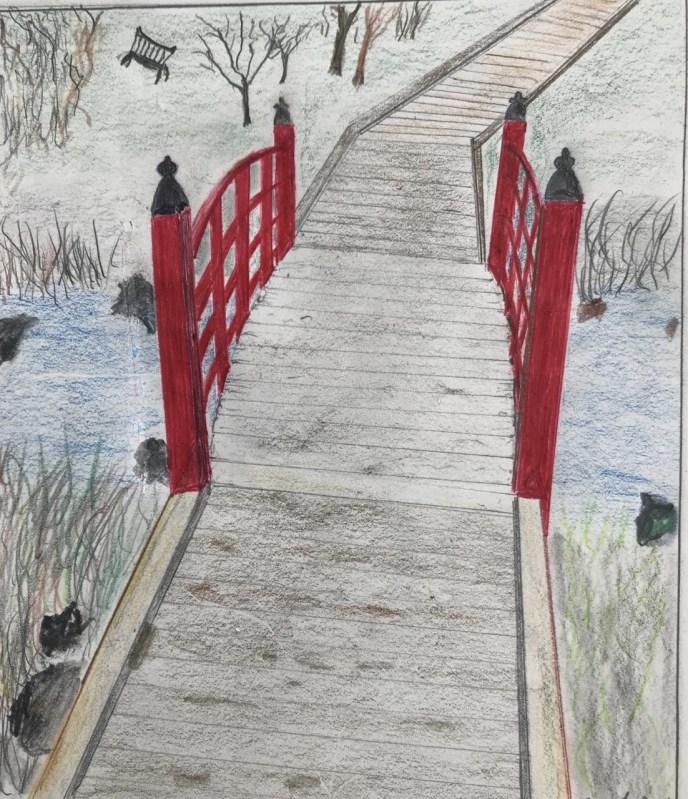 Red Bridge (colored pencil, 9x8) - NFS
