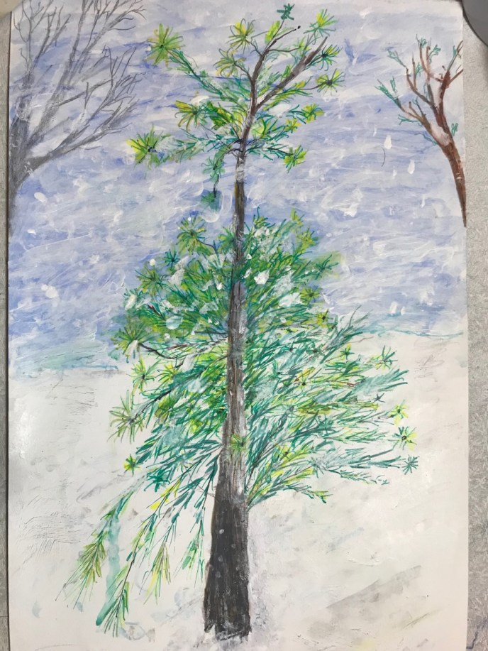 Tree in Winter (acrylic and pencil on cardboard, 8x14) - Price Negotiable